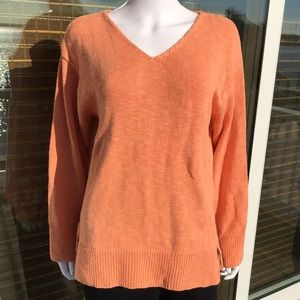 Avalon, Orange cotton summer sweater. OS. EUC
